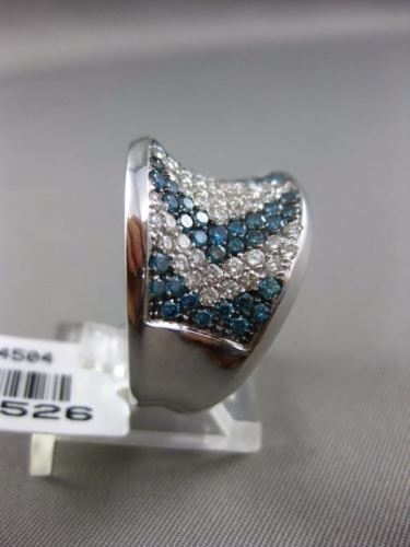 ESTATE WIDE 2.86CT WHITE & BLUE DIAMOND 14KT WHITE GOLD 3D CONCAVE COCKTAIL RING