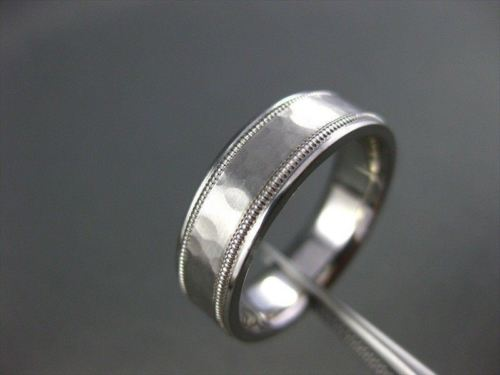 ESTATE WIDE 14KT WHITE GOLD HAMMER MATT & SHINY LOOK MENS WEDDING RING #17951