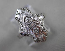ANTIQUE WIDE & LONG .06CT DIAMOND 14KT WHITE GOLD FILIGREE ART DECO RING #19669
