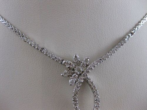 "ESTATE 2.18CTW DIAMOND FLOWER DROP 14K WHITE GOLD NECKLACE 18"" INCH F VVS #19983"