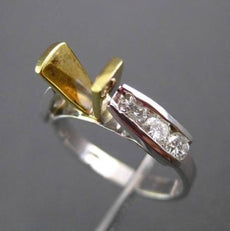 ESTATE .67CT DIAMOND 14KT TWO TONE GOLD TENSION SEMI MOUNT ENGAGEMENT RING #4866