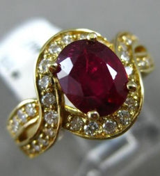 ESTATE 2.60CT DIAMOND & AAA RUBY 14KT YELLOW GOLD INFINITY ENGAGEMENT RING #1503