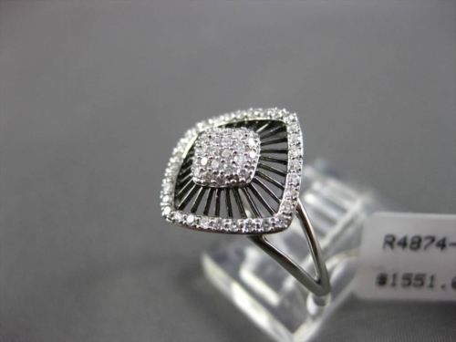 ESTATE WIDE .30CT DIAMOND 14K WHITE GOLD PAVE SQUARE FLORAL DESIGN COCKTAIL RING