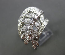 ANTIQUE WIDE .60CT OLD MINE DIAMOND 14K WHITE GOLD FILIGREE LEAF FUN RING #21792