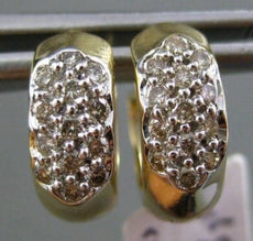 ESTATE .40CT DIAMOND 14KT WHITE & YELLOW GOLD 3D CLASSIC PAVE HUGGIE EARRINGS