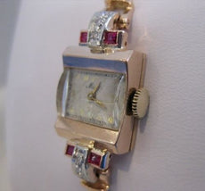 "ANTQUE OLD EURO MINE CUT DIAMOND RUBY 14K WHITE ROSE GOLD MIDO WATCH 6.5"" #19744"