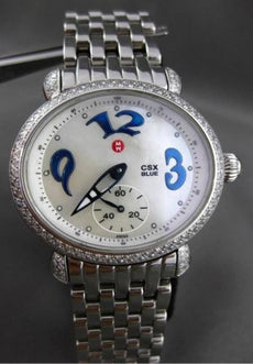 LARGE 1.40CT DIAMOND MICHELE CSX BLUE STAINLESS STEEL OVAL WATCH & BOX #24120