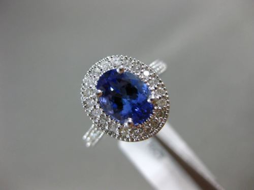 LARGE 1.8CT DIAMOND & AAA OVAL TANZANITE 14K WHITE GOLD FILIGREE ENGAGEMENT RING