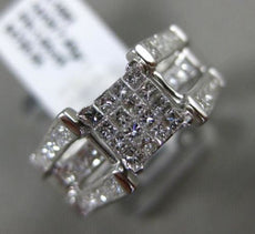 ESTATE WIDE 1CT PRINCESS CUT DIAMOND 14K WHITE GOLD 3D INVISIBLE ENGAGEMENT RING