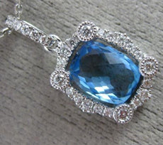1.70CT DIAMOND & AAA BLUE TOPAZ 14KT WHITE GOLD RECTANGULAR HALO ETOILE PENDANT