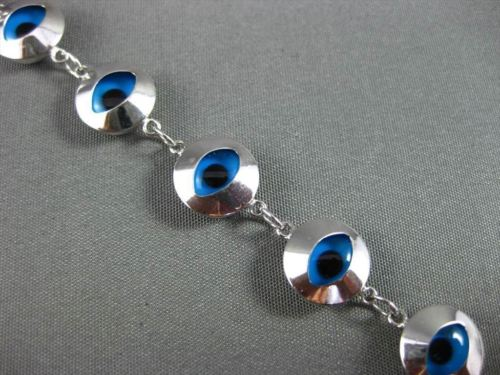 ESTATE 14KT WHITE GOLD & ROUND BLUE CRYSTAL EVIL EYE BRACELET AMAZING! #22951