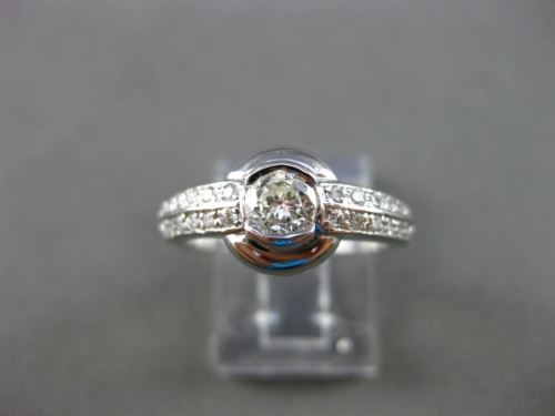 ESTATE WIDE .62CT ROUND DIAMOND 14K WHITE GOLD SEMI BEZEL FRIENDSHIP RING #11011