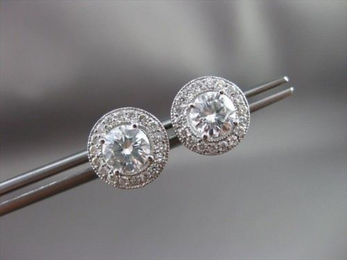 ANTIQUE 1.96CT DIAMOND 14KT WHITE GOLD FILIGREE HALO STUD EARRINGS AMAZING #2708