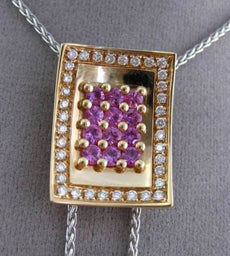 ESTATE MASSIVE 2.0CT DIAMOND & PINK SAPPHIRE 18KT TRI COLOR GOLD LARIAT NECKLACE