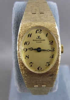 "ANTIQUE JAEGER LECOULTRE 14K YELLOW GOLD OVAL SWISS MECHANICAL WATCH 6.75"" #2305"