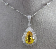 ESTATE 4.48CT DIAMOND & AAA YELLOW SAPPHIRE 14K WHITE GOLD PEAR SHAPE NECKLACE