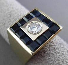 ESTATE EXTRA LARGE 3.0CTW DIAMOND & SAPPHIRE 14KT YELLOW GOLD MENS RING #23886
