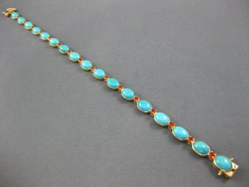 ESTATE WIDE & LONG 13.97CT FIRE OPAL & AAA TURQUOISE 14K YELLOW GOLD 3D BRACELET