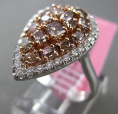 ESTATE LARGE 1.76CT WHITE & PINK DIAMOND 18KT WHITE ROSE GOLD PEAR COCKTAIL RING