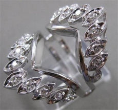 ANTIQUE DIAMOND 14KT WHITE GOLD FILIGREE ENGAGEMENT RING INSERT 27MM WIDE #21169