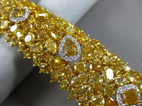GIA LARGE 51.38CT WHITE & FANCY YELLOW DIAMOND 18KT YELLOW GOLD TENNIS BRACELET
