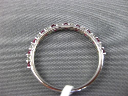 .43CT DIAMOND & AAA RUBY 14KT WHITE GOLD SEMI ETERNITY WEDDING ANNIVERSARY RING