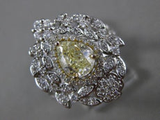 ESTATE 1.91CT WHITE & FANCY YELLOW DIAMOND 14K 2TONE GOLD FLOWER ENGAGEMENT RING