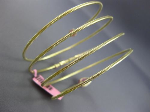 ESTATE WIDE 5.25CT AAA PINK SAPPHIRE 14KT YELLOW GOLD 3D SNAKE BANGLE BRACELET