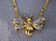 "ANTIQUE BUTTERFLY DIAMOND WIDE 18K YELLOW GOLD NECKLACE 16.5"" F/G VVS ITALY #566"