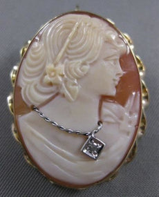 LARGE ANTIQUE DIAMOND HABILLE LADY CAMEO 14KT YELLOW GOLD PIN PENDANT #21229