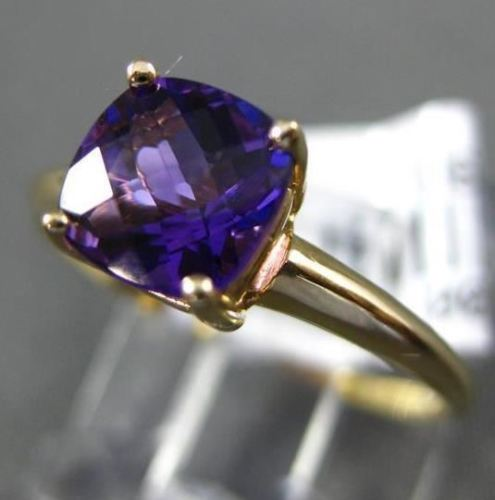 ESTATE .95CT AAA AMETHYST 14KT YELLOW GOLD 3D SQUARE SOLITAIRE PROMISE RING