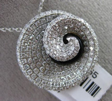 ESTATE LARGE 1.34CT DIAMOND & ONYX 18KT WHITE GOLD SWIRL SHELL FLOATING PENDANT