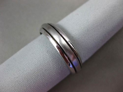 ESTATE 14KT WHITE GOLD CLASSIC MATTE & SHINY WEDDING ANNIVERSARY RING 5mm #1612