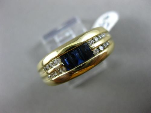 ESTATE WIDE .95CT ROUND DIAMOND & AAA SAPPHIRE 14KT YELLOW GOLD 3D MENS RING 8mm