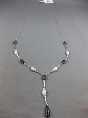 LARGE 2.13CT DIAMOND & AAA SAPPHIRE 14KT WHITE GOLD LARIAT BY THE YARD NECKLACE