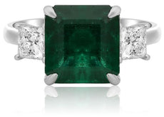 ESTATE 6.74CT DIAMOND & AAA PRINCESS EMERALD PLATINUM 3 STONE ENGAGEMENT RING