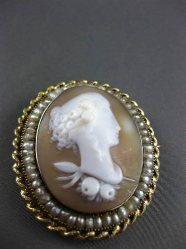 ANTIQUE 14KT YELLOW GOLD HANDCRAFTED PEARL VICTORIAN 3D CAMEO PIN BROOCH #24441