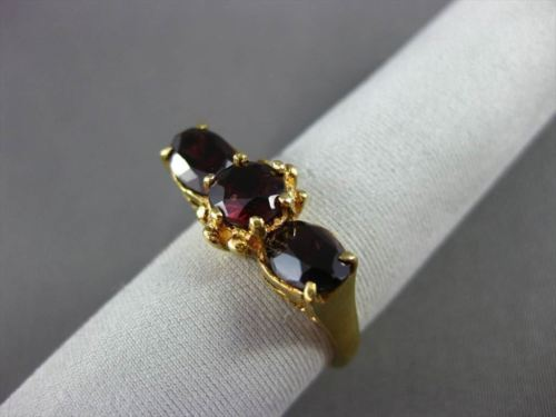 ANTIQUE WIDE 2.60CT AAA GARNET 18KT YELLOW GOLD 3 STONE FILIGEE RING #22641