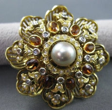 ANTIQUE 5.0CT CITRINE & DIAMOND 18K WHITE & YELLOW GOLD FLOWER PIN PENDANT #1957
