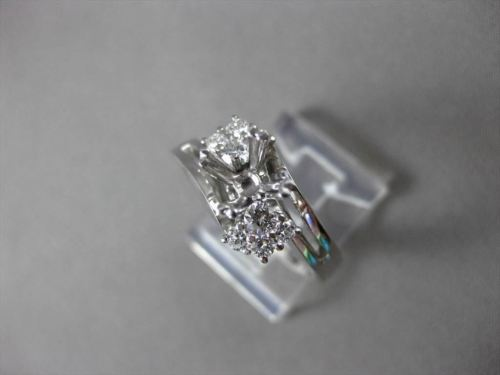 ANTIQUE .40CT DIAMOND 18KT WHITE GOLD 3D FLORAL SEMI MOUNT ENGAGEMENT RING 18746