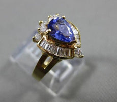 ESTATE 1.33CT DIAMOND & AAA PEAR TANZANITE 14K YELLOW GOLD 3D COCKTAIL RING 9787