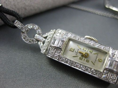 ANTIQUE 1.0CT EURO OLD MINE DIAMOND PLATINUM CHOISI 17JEWELS WATCH STUNNING 2218