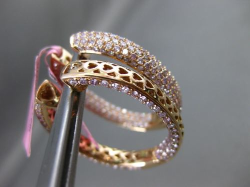 ESTATE 5.82CT PINK DIAMOND 18K ROSE GOLD 3D DOUBLE SIDED ELONGATED HOOP EARRINGS