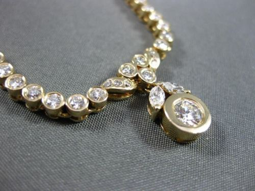 ANTIQUE 1.20CT DIAMOND 14KT YELLOW GOLD SOLITAIRE BEZEL FLOATING NECKLACE #18182