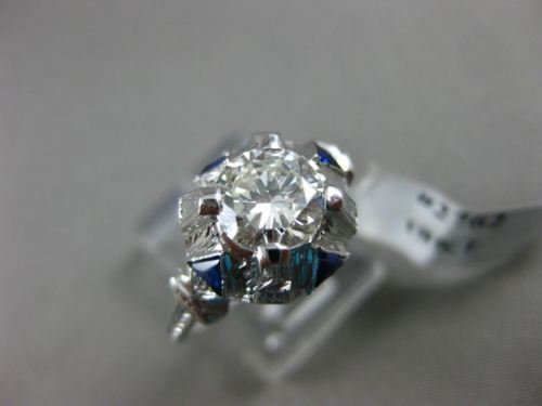 ANTIQUE 1.23CT DIAMOND & SAPPHIRE 18KT WHITE GOLD FILIGREE ENGAGEMENT RING #2762