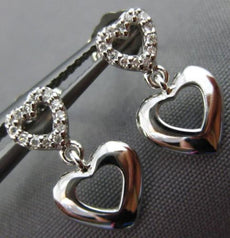 ESTATE .06CT DIAMOND 14KT WHITE GOLD 3D OPEN DOUBLE HEART LOVE HANGING EARRINGS
