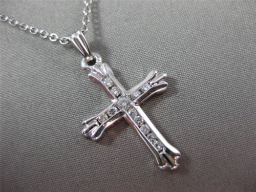 ANTIQUE .38CT ROUND DIAMOND 14KT WHITE GOLD CHANNEL SETTING CROSS PENDANT #17008