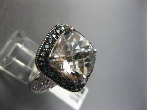 LARGE 10CT WHITE & BLUE DIAMOND & AAA WHITE QUARTZ 14KT WHITE GOLD FILIGREE RING