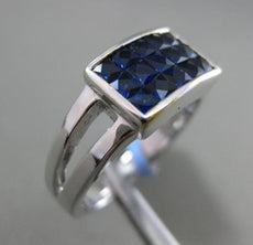 ESTATE WIDE 1.77CT EXTRA FACET AAA SAPPHIRE 18KT WHITE GOLD 3D RECTANGULAR RING