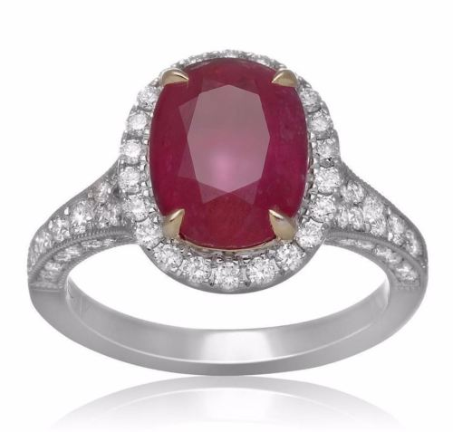 LARGE GIA CERTIFIED 4.30CT DIAMOND & AAA RUBY 18K 2 TONE GOLD 3D ENGAGEMENT RING